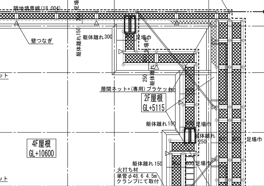 足場 平面 施工図