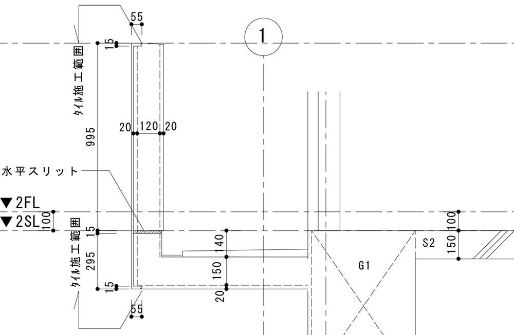 タイル割図 施工図 バルコニー