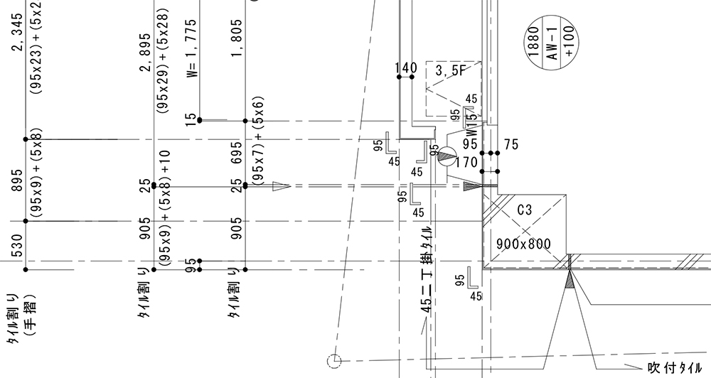 タイル割図 施工図 スリット 目地